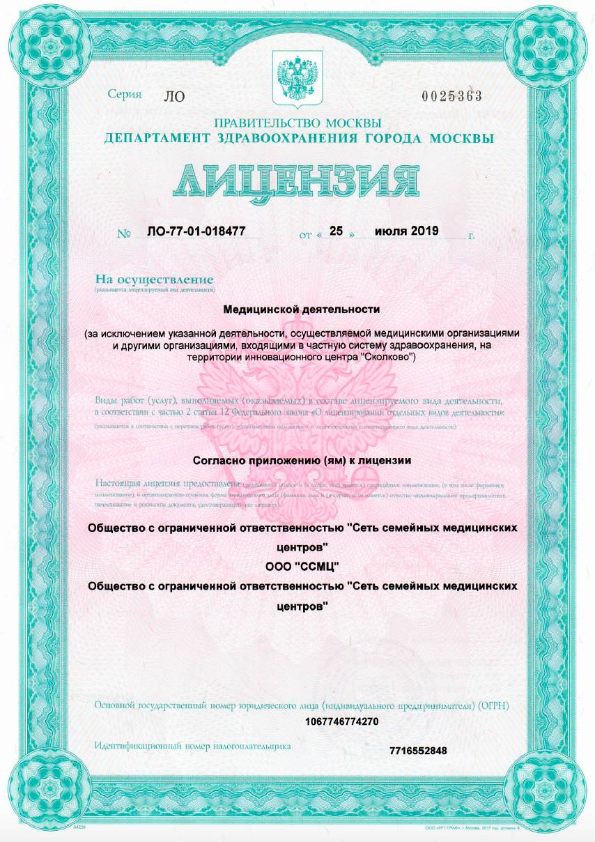 Лицензия №ЛО-77-01-018477 Римская 1 лист